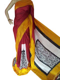 Maroon and Mustard Bishnupuri Silk Block Print Saree - Daleyza Collections