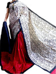 Red and Black Bishnupuri Silk Block Print Saree - Daleyza Collections