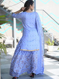 Light Blue Printed Kurti with Flared Skirt and Dupatta - Daleyza Collections