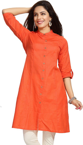 Orange Cotton Ready Made Long Kurti - Daleyza Collections
