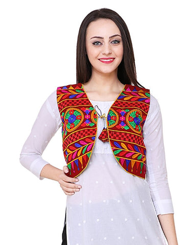 Maroon Cotton Multi Color Embroidered Kurti Jacket - Daleyza Collections