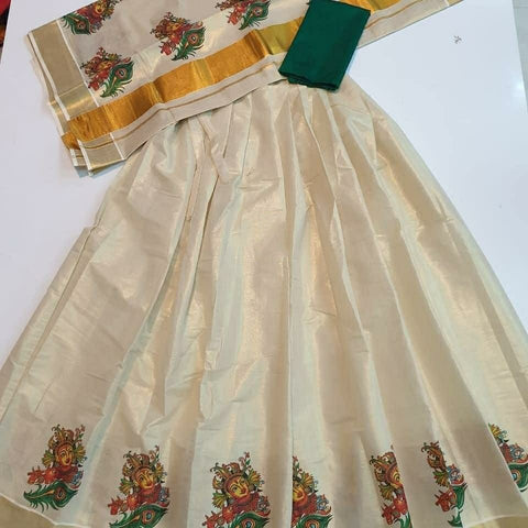 Mural Printed Gold Tissue Dhavani - Daleyza Collections