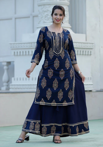 Navy Blue Ready Made Rayon Kurti with Skirt - Daleyza Collections