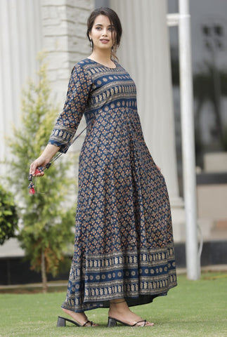 Navy Blue Printed Flared Long Kurti with Hand Work - Daleyza Collections