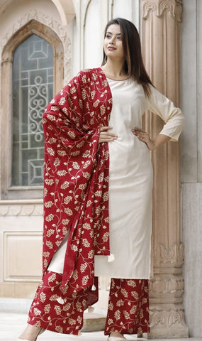 Off White Rayon Straight Kurti with Gold Printed Palazzo Dupatta Set - Daleyza Collections