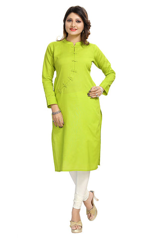 Green Cotton Ready Made Long Kurti - Daleyza Collections