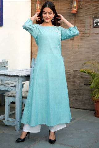 Blue Cotton Embroidered Kurti with Palazzo Set - Daleyza Collections
