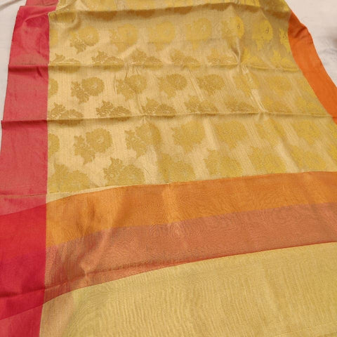 Kerala Style Tissue Sarees with Red Borders - Daleyza Collections