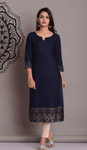 Navy Blue Rayon Printed Kurti - Daleyza Collections