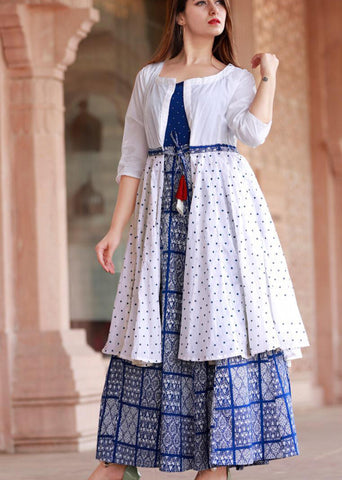 Blue Rayon Long Kurti with Shrug - Daleyza Collections