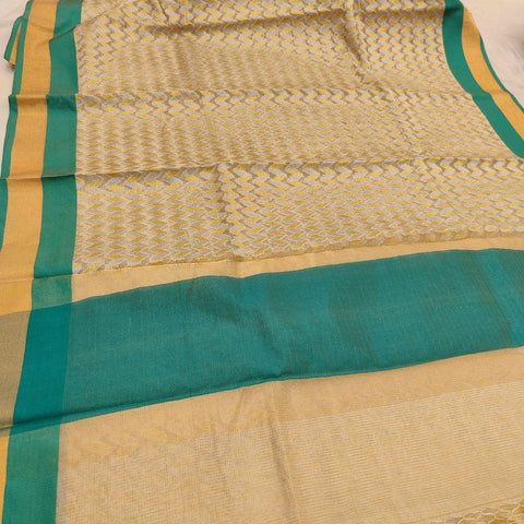 Kerala Style Organza Sea Green Tissue Saree - Daleyza Collections