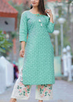 Sea Green Embroidered Kurti with Embroidered Palazzo - Daleyza Collections