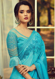 Sky Blue Sunlight Silk Embroidered Saree - Daleyza Collections