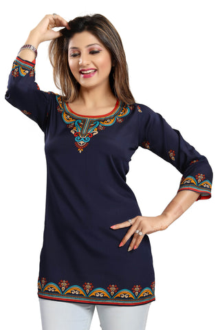Blue Ready Made Crepe Short Kurti - Daleyza Collections