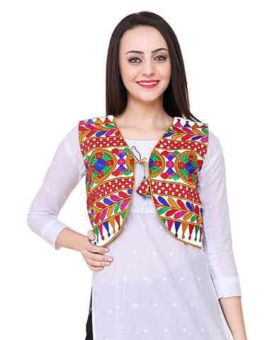 White Cotton Multi Color Embroidered Kurti Jacket - Daleyza Collections