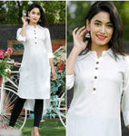 White Rayon Ready Made Kurti - Daleyza Collections