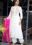 White Embroidered Kurti with Bottom and Dupatta Set - Daleyza Collections