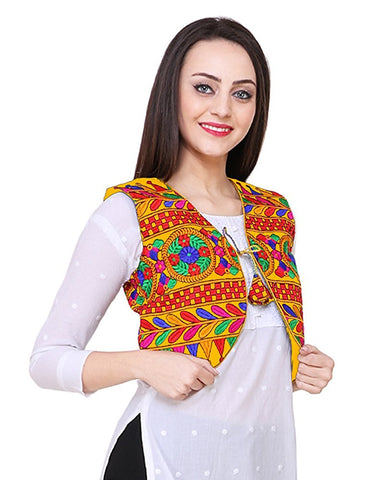 Yellow Cotton Multi Color Embroidered Kurti Jacket - Daleyza Collections