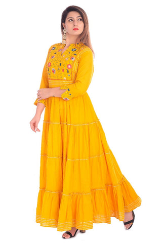 Yellow Cotton Embroidered Long Kurti - Daleyza Collections