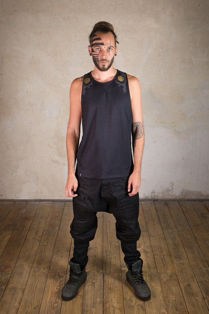 Samurai Shirt | men shirt with wide cut back | Sacred Geometry Shirt | Cyberpunk Clothing | Tron Shirt Black Gold