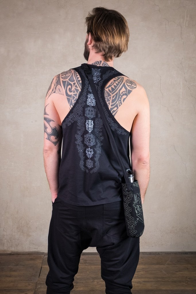 Samurai Shirt | men shirt with wide cut back | Sacred Geometry Shirt | Cyberpunk Clothing | Tron Shirt Black Silver