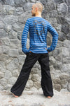 Pirate Shirt | Festival Clothing | Dystopian Clothing | Freddy Krueger | Steampunk Outfit | Long Sleeve Ted Blue