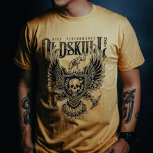 Load image into Gallery viewer, This shirt comes in yellow gold, black or white.  It has a eagle emblem with a shield in the center containing a skull with lightning through it.  The brand name Oldskull Shirts is written above it in bold print.  This is a streetwear vintage style of shirt made of the coolest design.