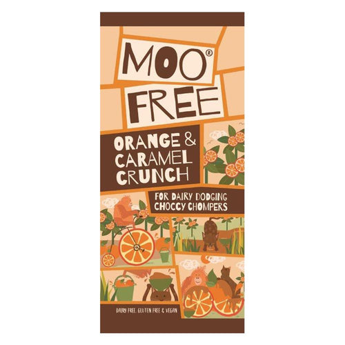 Moo Free Valencian Orange & Caramel Crunch Bar.