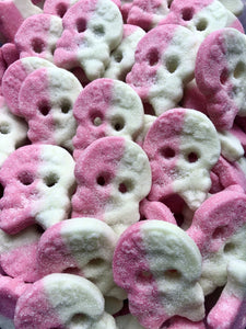 Vegan melon foam skulls.