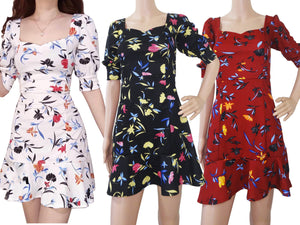Puff Sleeves Square Neck 3/4 sleeves Floral Summer Dress