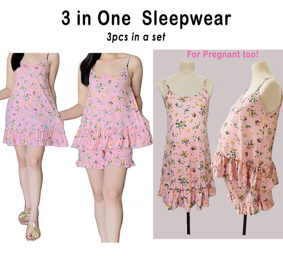 3-in-1 Sleepwear - Shorts, Spaghetti top, Daster - Can be worn by pregnant women