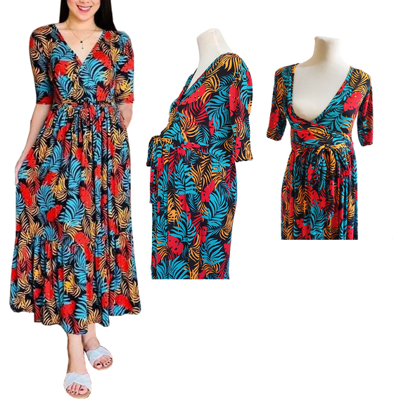 3/4 Sleeves Overlap Top Maxi Dress - Pregnancy Dress. Easy Access Nursing and Maternity Dress (Karla Dress)