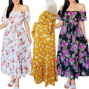 Off Shoulder Maxi Dress - Maternity Dress, Pregnancy Dress (Nadya Dress)