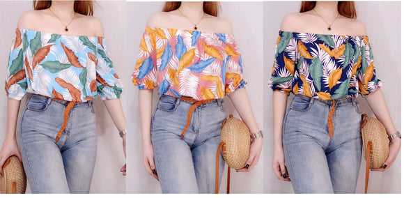 Off Shoulder Crop Top - Printed