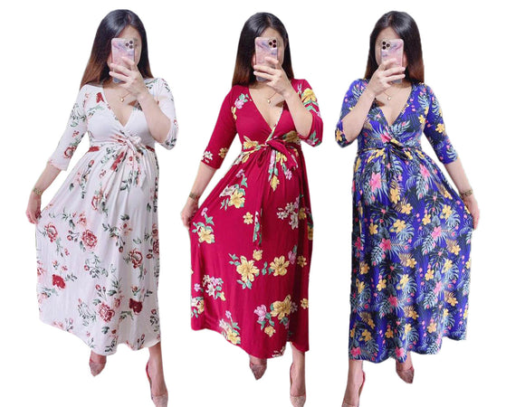 Maternity, Breastfeeding, Pregnancy Overlap Floral Maxi Dress - 3/4 Sleeves (Mara)