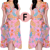 Overlap Floral Dress - Beauty Dress