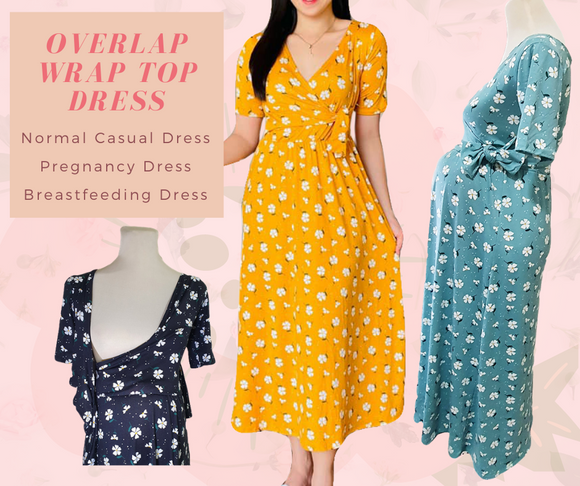 Overlap Wrap Top Floral Print Maxi Dress - Maternity, Breastfeeding Dress - Vanya Dress