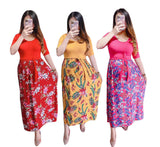 Pregnancy Maternity Floral Maxi Dress - 3/4 Sleeves - (Clara)
