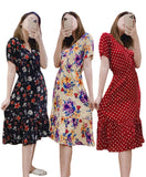 Overlap Summer Floral Dress Bohemian Style with Ruffled Hem