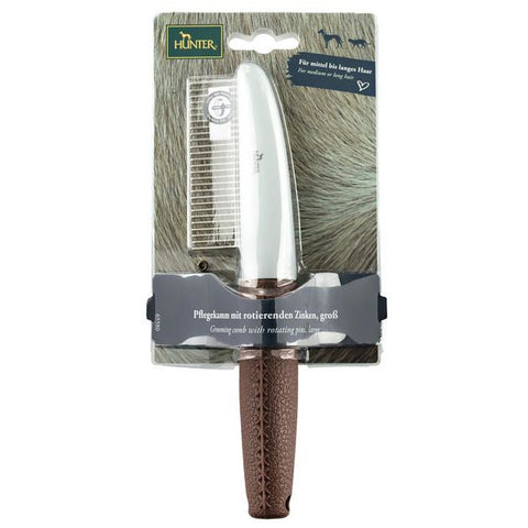 Hunter - Comb for Dogs Rotating Pins Spa Brown-Grey