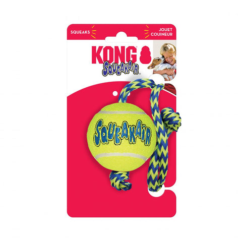 KONG - Air Squeaker Tennis Ball W-Rope Medium