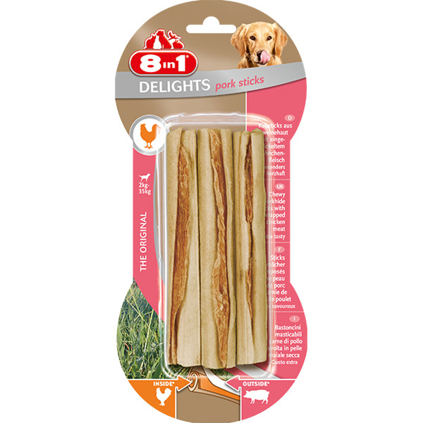8in1 - Bones Delights Sticks Pork 3pcs
