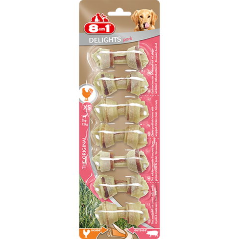 8in1 - Bones Delights Pork XS 7pcs - zoofast-shop