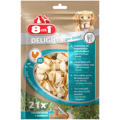 8in1 - Bones Delights Pro Dental Chicken Xs 21pcs 252g - zoofast-shop