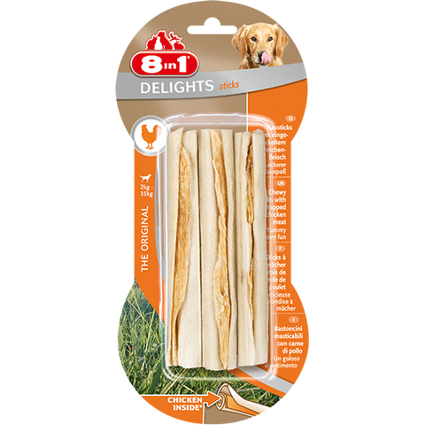 8in1 - Bones Delights Sticks Chicken 3pcs 90g - zoofast-shop