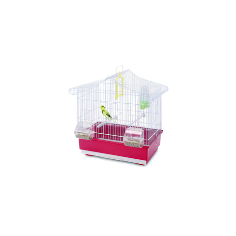 Imac - Cage For Birds Ava White - Red - 42cmX26cmX42cm - zoofast-shop