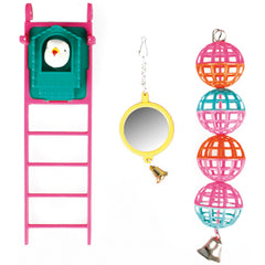 Flamingo - Toy For Parakeets Mirror Balls Ladder 20cm - zoofast-shop