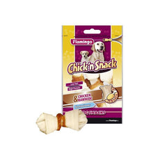Flamingo - Snack Chick'n Knotted Bones Chicken & Rawhide 85g - zoofast-shop