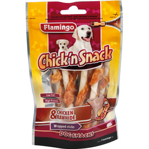 Flamingo - Snack Chick'n Wrapped Sticks Chicken & Rawhide 65g