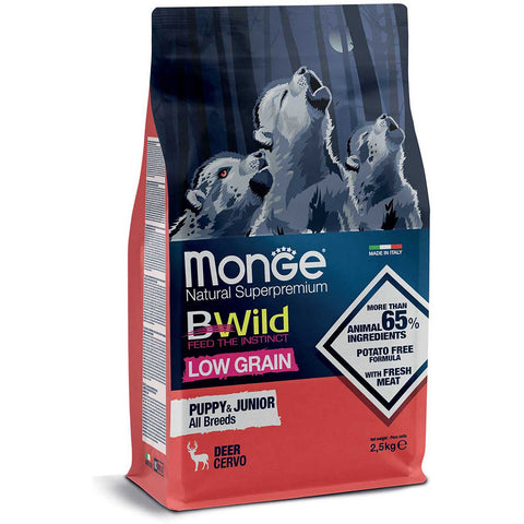 Monge BWild Low Grain – Deer – All Breeds Puppy & Junior 2.5kg & 12kg